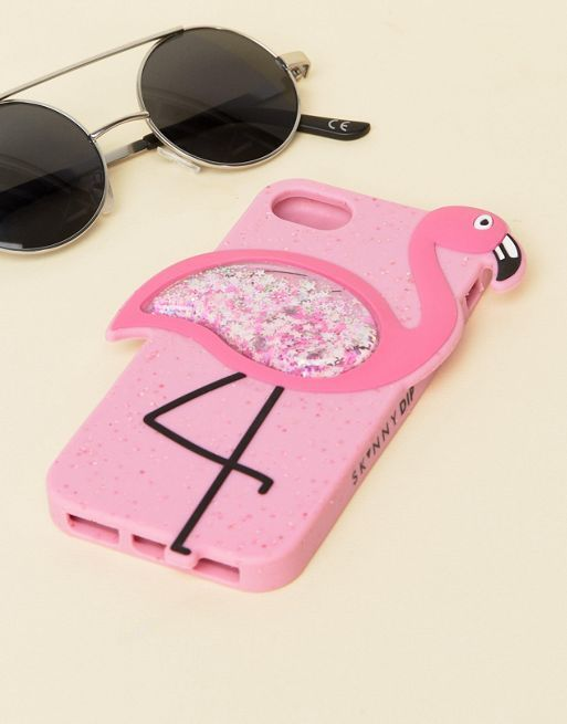 送料込 Skinnydip Flamingo Glitter Silicone iPhone 6/7 ケース