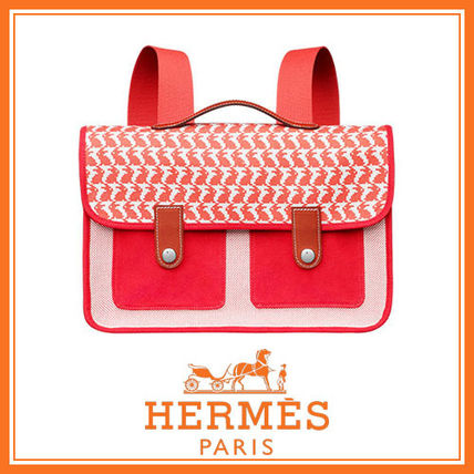 HERMES 子供用リュック・バックパック HERMES 国内発送 Animaux Pixel 綿 リュック バックパック 2色