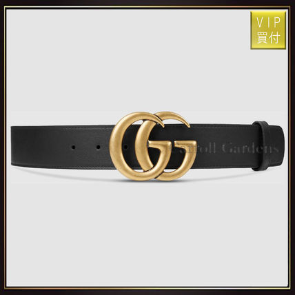 【グッチ】Leather Belt With Double G Buckle ベルト