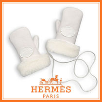 HERMES 国内発送 Saute-moutons キッズ用ミトン ムートン 白