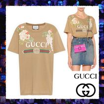 【GUCCI】Embroidered cotton T-shirt☆花柄刺繍 綿100% 大きめ