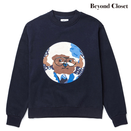 ★beyond closet★[起毛]WINTER HAT DOG PATCH SWEAT-SHIRTS(NY)