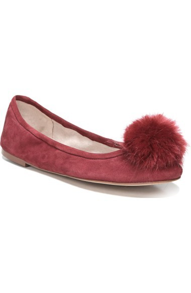 関税送料込 Sam Edelman Farina Flat with Faux Fur Po フラット