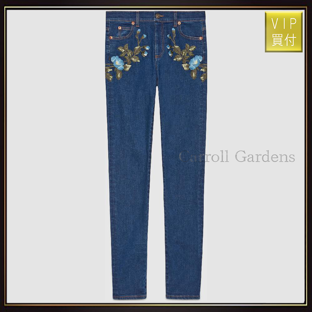 【グッチ】Floral Embroidered Skinny Denim Pant デニム