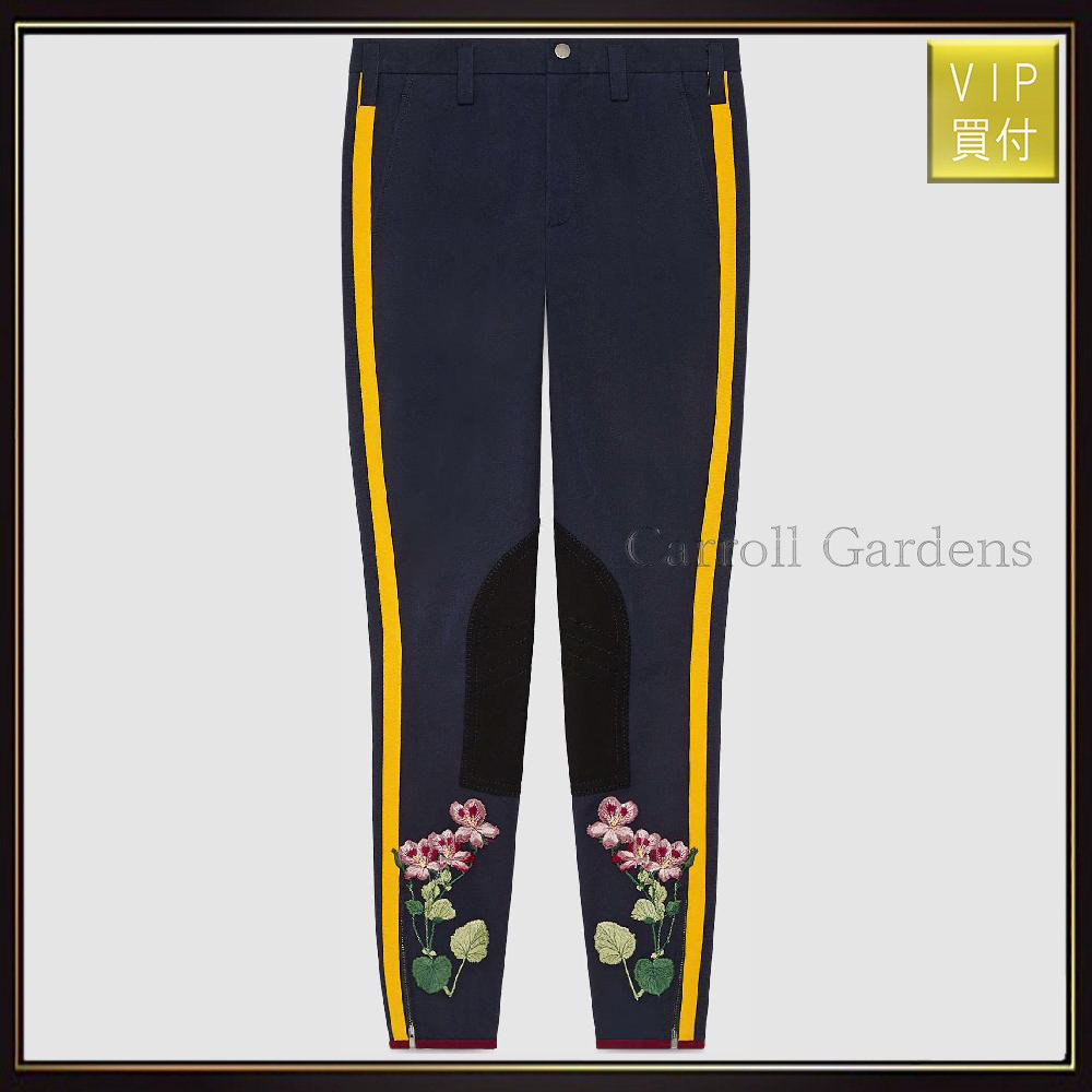 【グッチ】Flower Embroidered Legging With Stripe パンツ