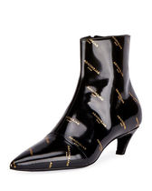 Logo-Print Patent Leather Bootie パテントレザーロゴブーツ