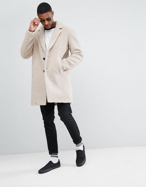 日本未入荷!ASOS TALL Relaxed Borg Overcoat in Ecru コート