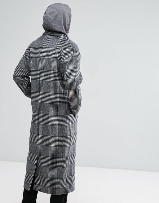 日本未入荷!ASOS Wool Mix Long Lined Overcoat In Prin コート