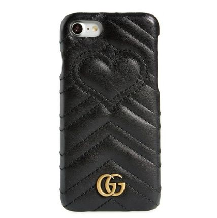 GUCCI キルトカーフハートデフォルメleather i-Phone7 8 case