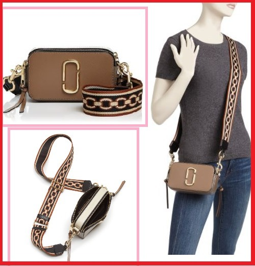 Snapshot Chain Print Strap Color Block Leather Camera Bag