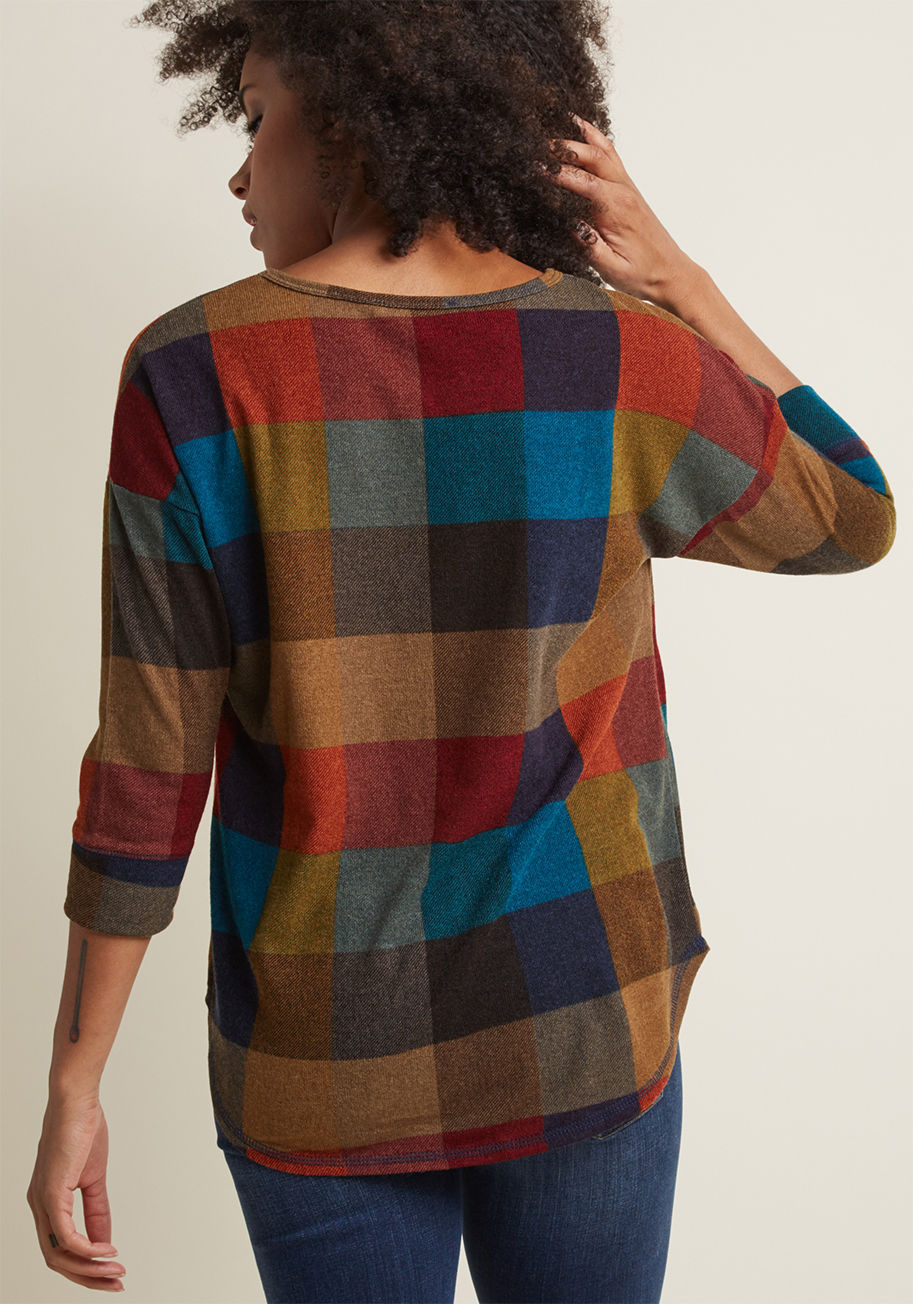 ◎送料込み◎ afternoon espresso knit top in warm plaid