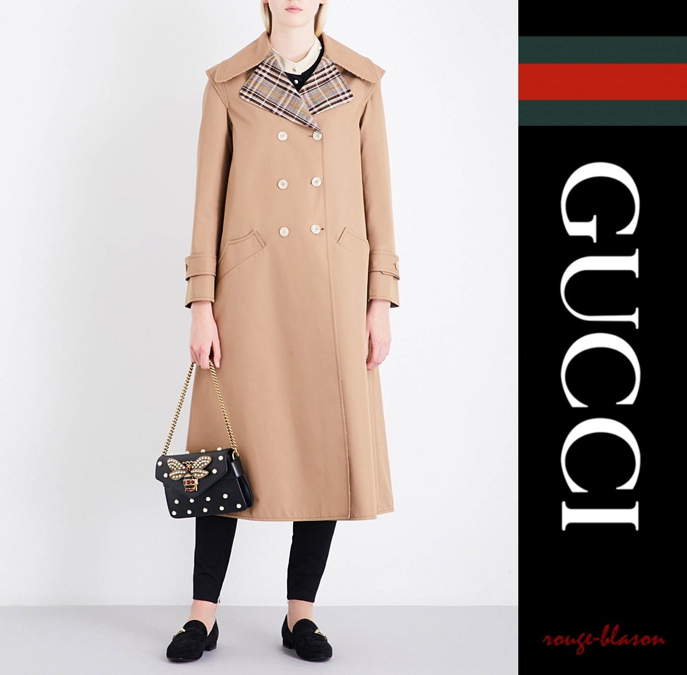 【国内発送】Appliqued oversized cotton-blend trench coat