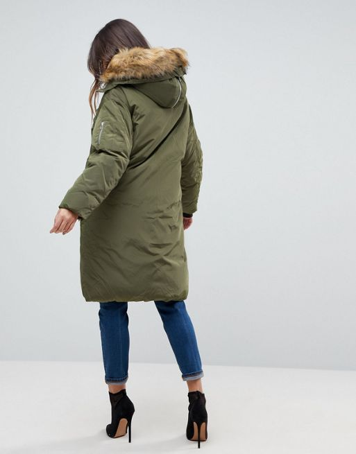 送料込 ASOS Parka with Luxe Faux Fur Zip Through Ho 海外限定