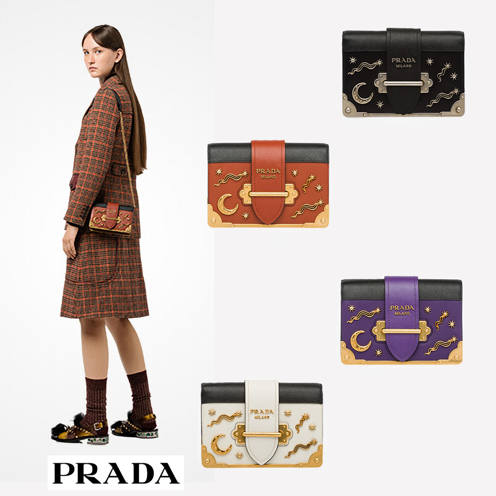 国内発関税込 2018AW PRADA Cahier Leather Shoulder Bag