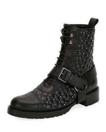 Rockstud Spike Quilted Combat Bootie レザーコンバットブーツ