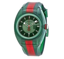 【SALE】GUCCI Sync Green Dial  Two Tone Rubber Watch