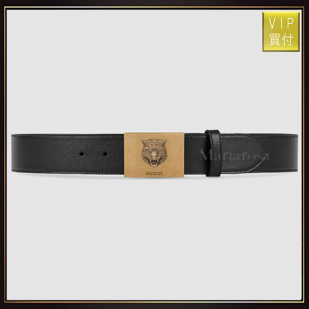 【グッチ】Leather Belt With Feline Buckle ベルト