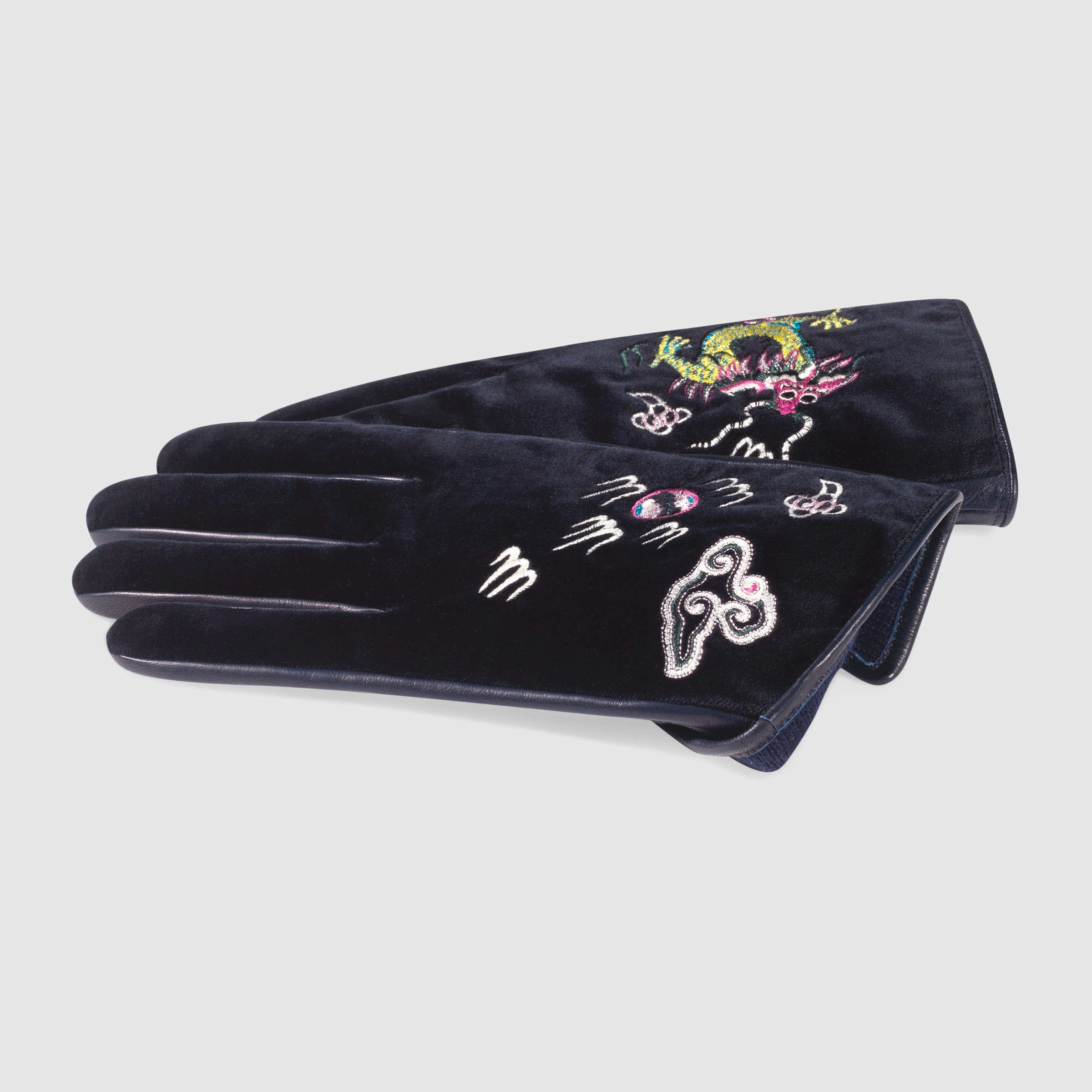 【グッチ】Velvet Gloves With Embroidery 手袋