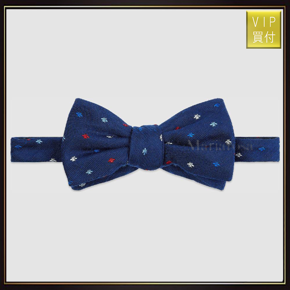 【グッチ】Bee Pattern Silk Bow Tie ネクタイ