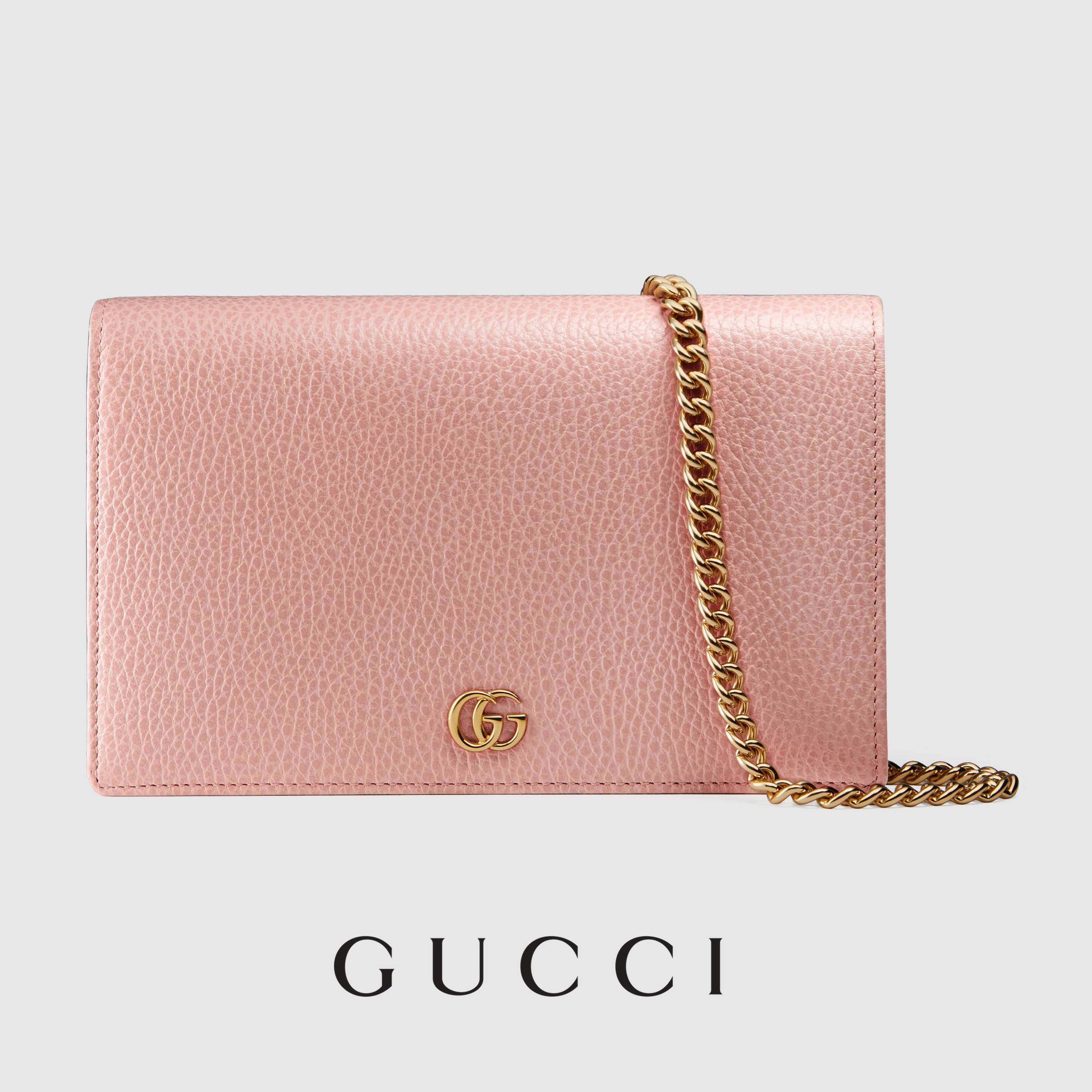 ■GUCCI■GG Marmont レザー ミニ チェーンバッグ ピンク