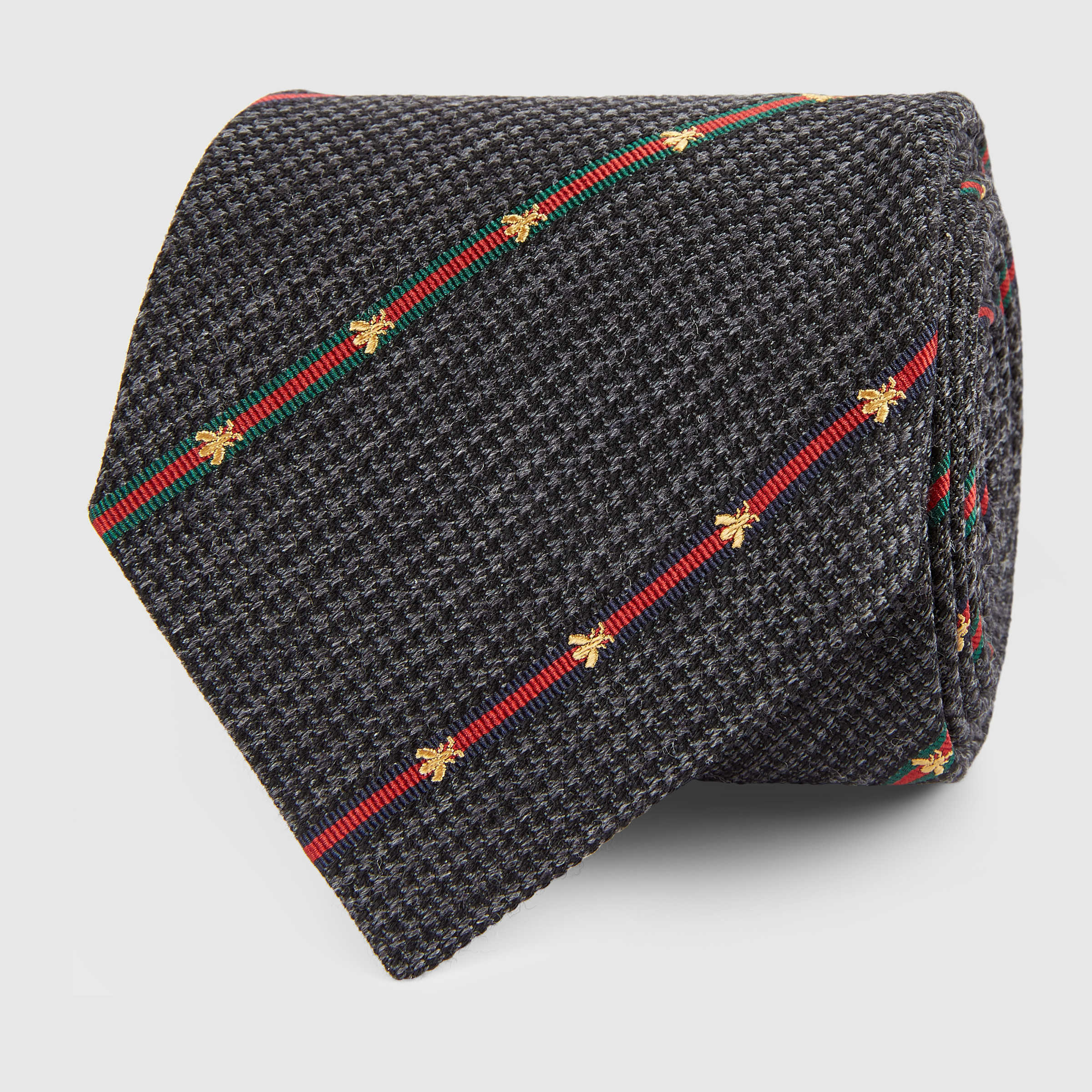 【グッチ】Silk Wool Tie With Bee Web Stripe ネクタイ