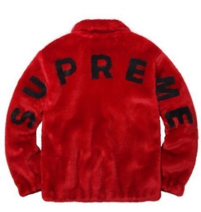 在庫あり 登坂着 17S/S Supreme Faux Fur Bomber Jacket Red
