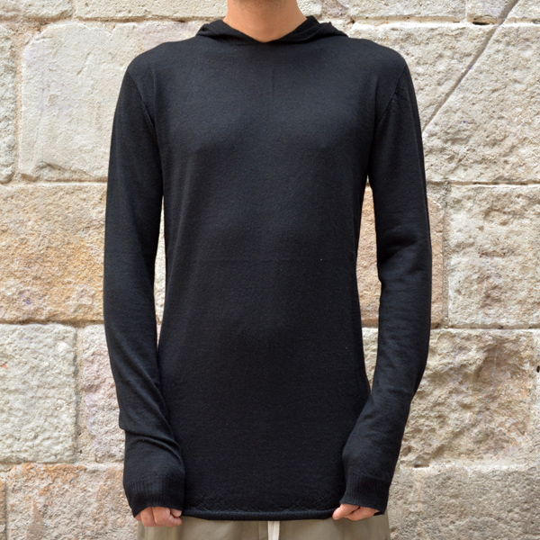 RICK OWENS MENS HOODED KNIT SWEATER BLACK