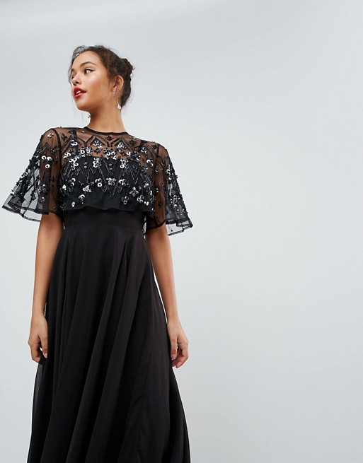【ASOS】 Embellished and Embroidered Crop Top Maxi Dress