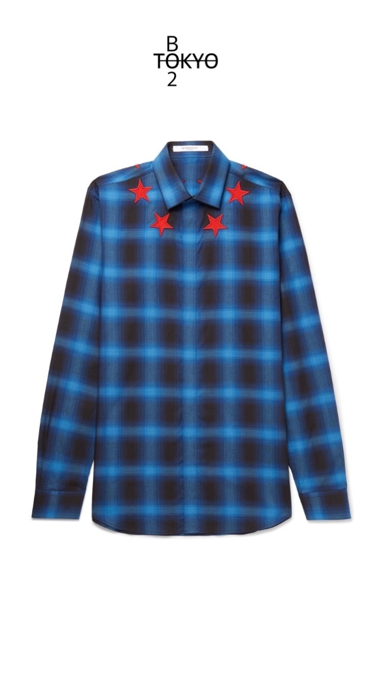 【GIVENCHY】CUBAN FIT STAR CHECKED TWILL シャツ♡