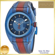 【SALE】GUCCI Sync Blue Dial Two Tone Rubber Watch