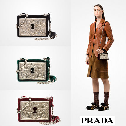 国内発関税込 2017-18AW PRADA Velvet Shoulder Bag