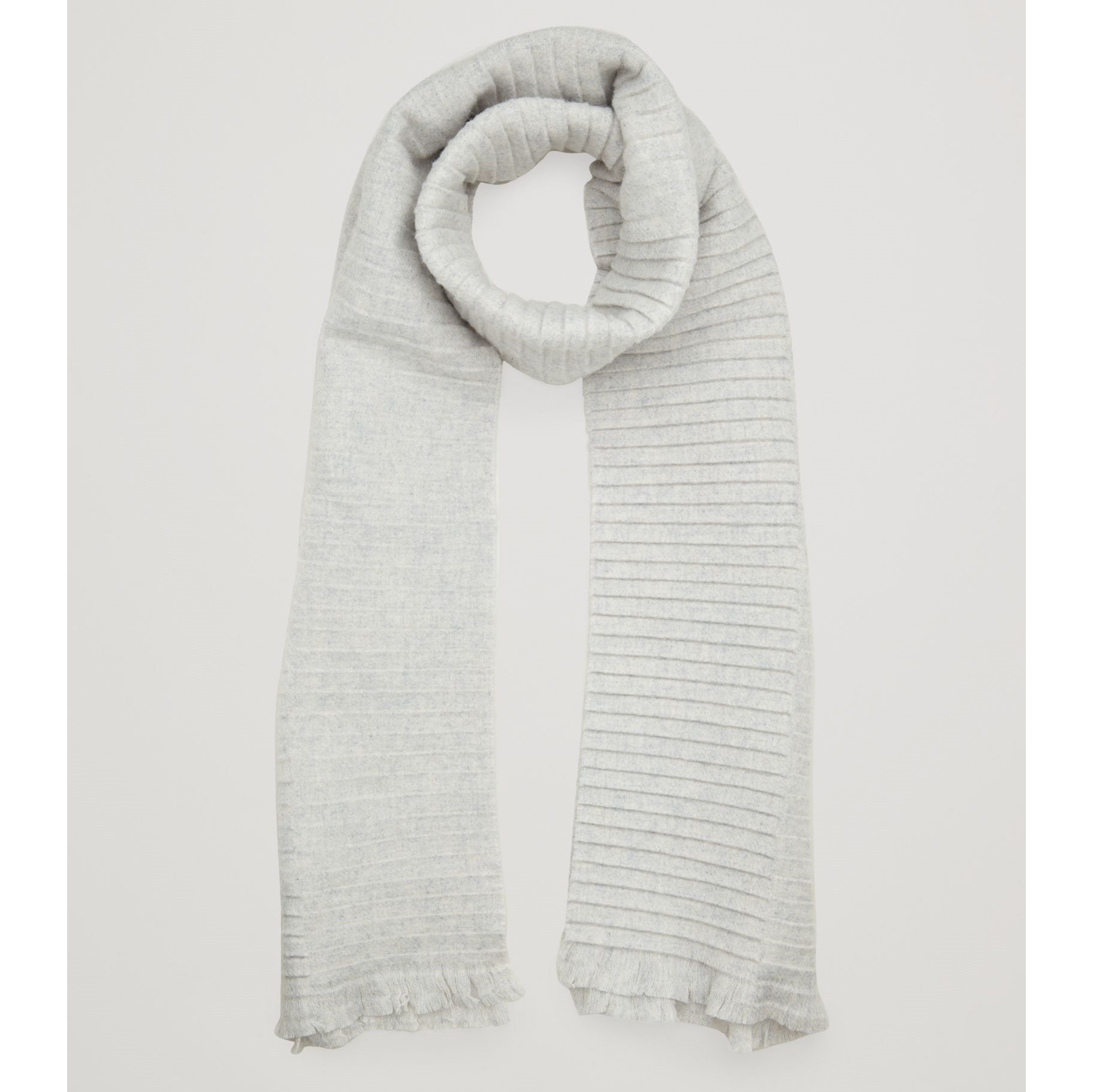 COS☆PLEATED WOOL SCARF / light grey