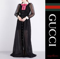 【国内発送】GUCCI ガウン Peter Pan-collar silk gown