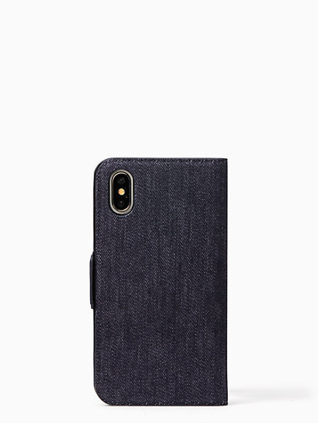 最新作☆ kate spade ☆17AW☆denim folio iphone X case