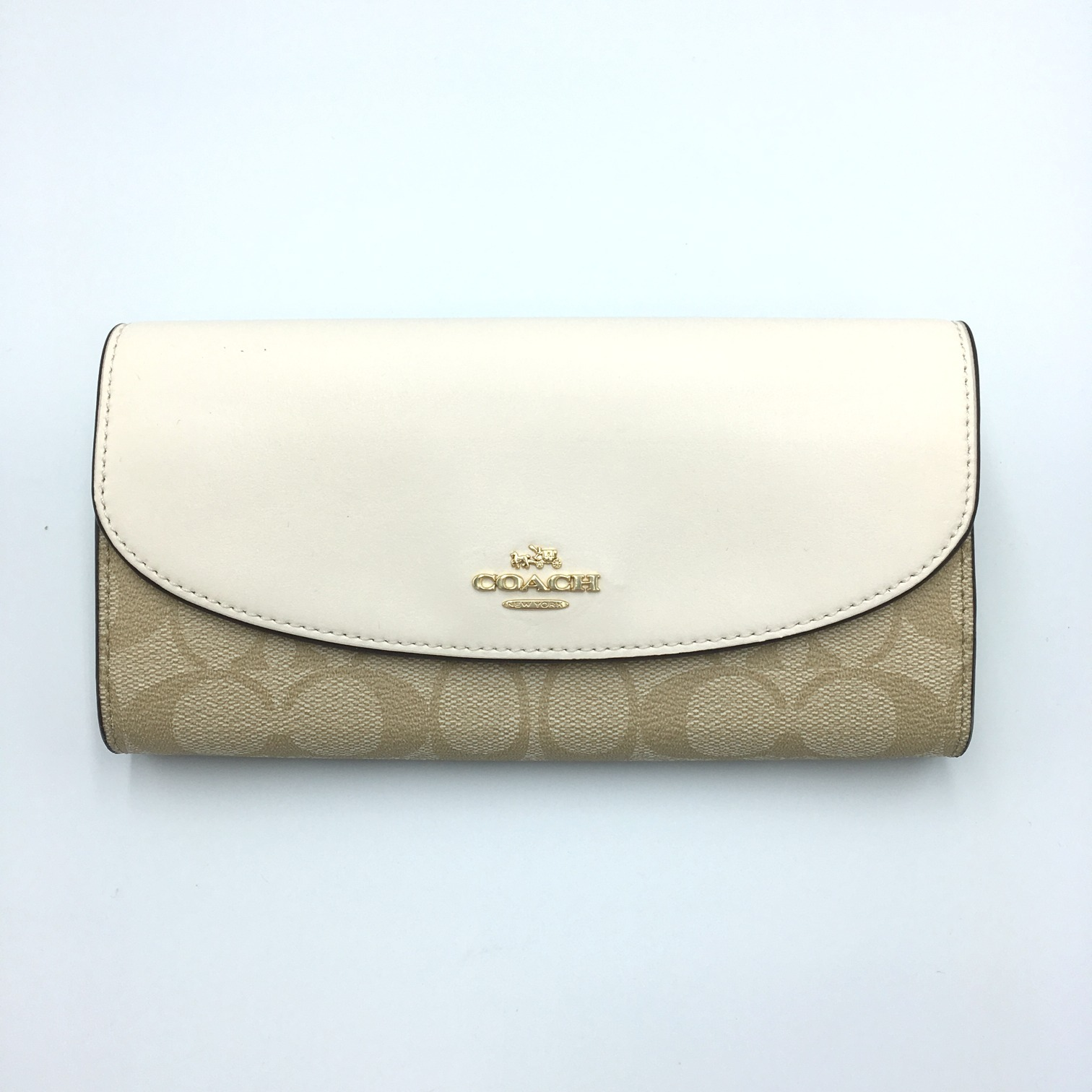 新品【COACH】長財布 (Light Kharki/Chalk)