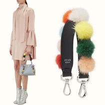 FE1840 MINK FUR POM POM EMBELLISHED MINI STRAP YOU