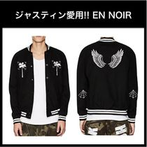 ジャスティン愛用☆EN NOIR☆Embroidered Melton Varsity Jacket