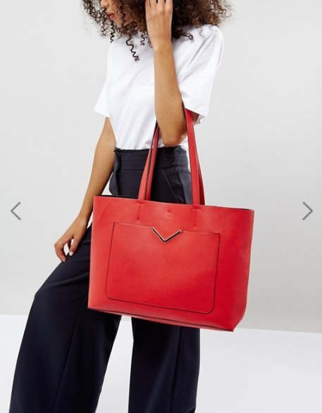 【ASOS】 Front Pocket Shopper Bag With Removable Clutch