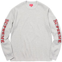 送料込み★Supreme Sleeve Logo Waffle Thermal Heather Grey