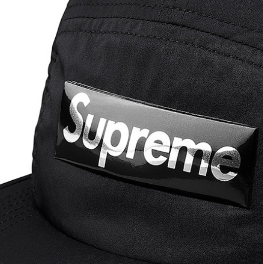 送料込み★Supreme Liquid Metal Logo Camp Cap Black