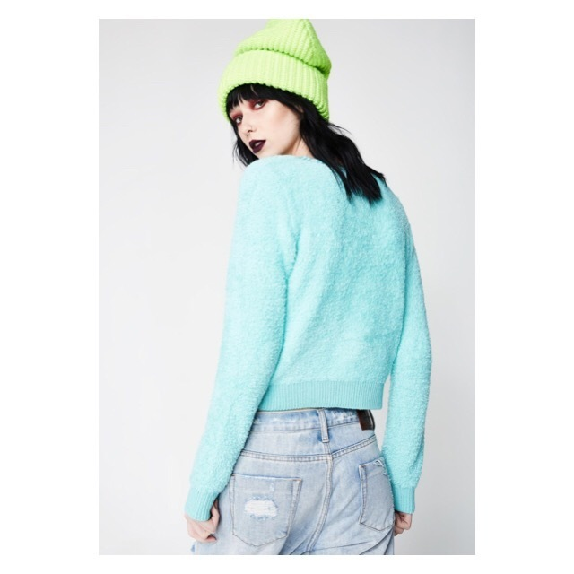 関税/送料込 *DOLLS KILL* TEAL WISH BEAR SWEATER