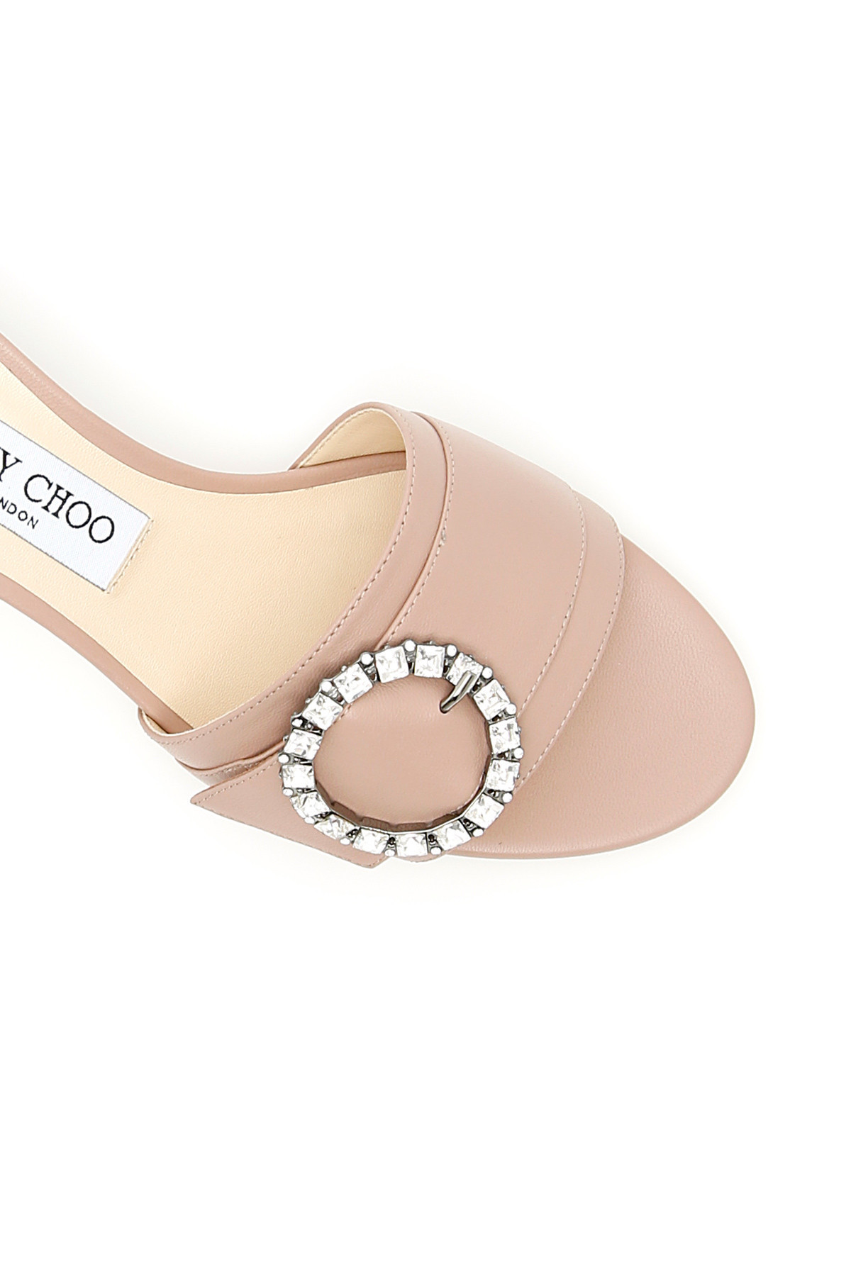 JIMMY CHOO Nappa Mules With Crystal Buckle