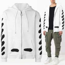 Off-White_正規品 DIAG SPRAY ZIPPED SWEATSHI WHITE
