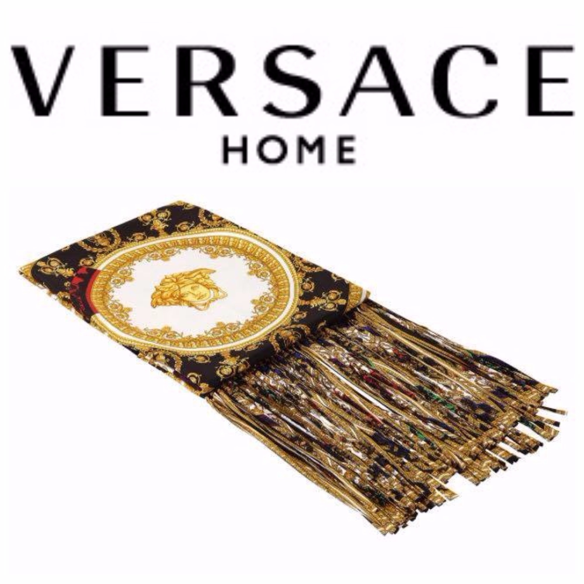 【VERSACE HOME】I♡BAROQUE プリント シルク ブランケット