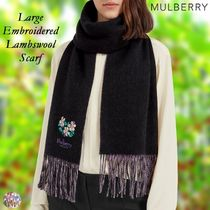 Mulberry☆Large Embroidered Lambswool Scarf 刺繍 ラムウール