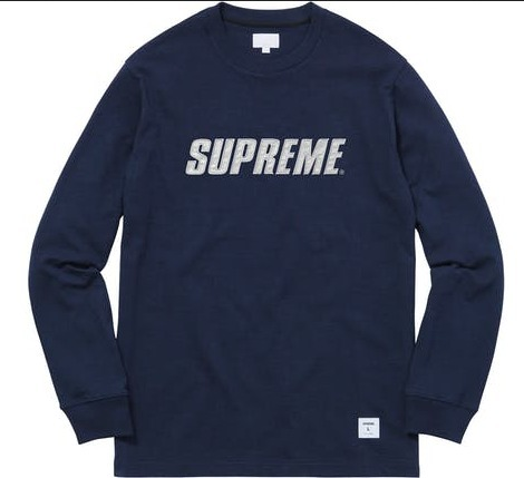 送料込み★Supreme Metallic L/S Top Tee Heather Navy