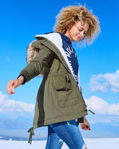【Hollister】Stretch Cozy-Lined Parka 裏ボア ジャケット 緑