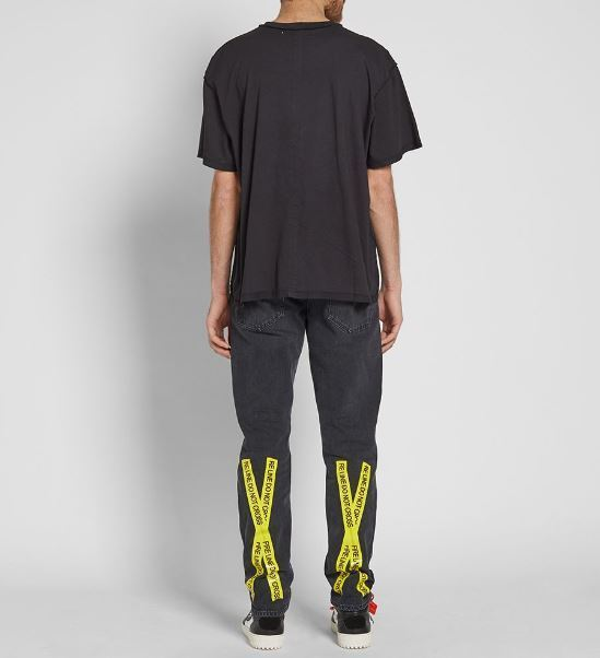 2018SS【OFF-WHITE】ファイアテープ5ポケットスリムジーンズ