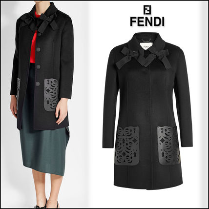 FENDI(フェンディ)★Wool Coat with Leather Pockets