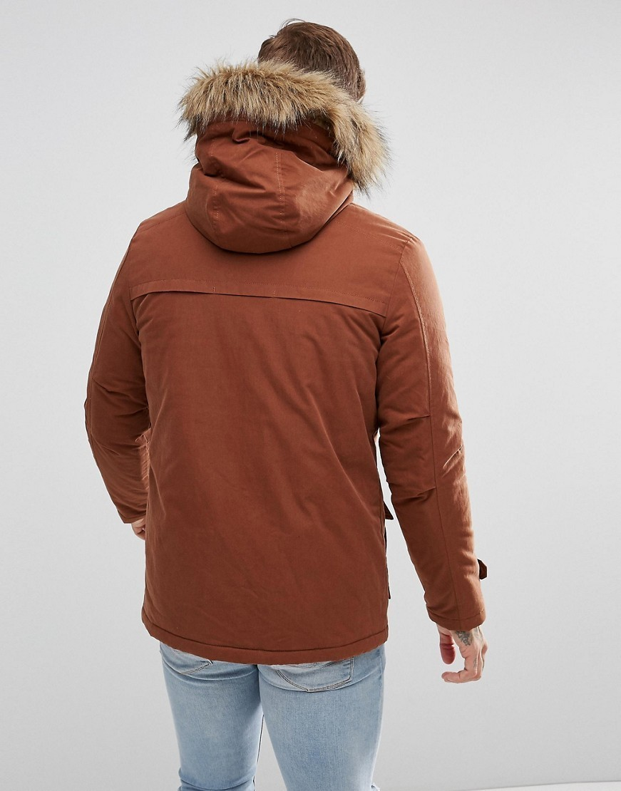 ○送料込○New Look Parka With Faux Fur Hood In Brown
